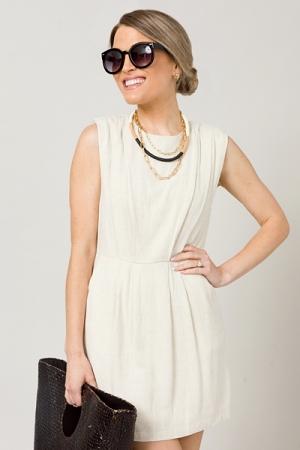 Linen Blend Dress, Oatmeal