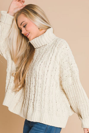 Almond Cable Turtleneck