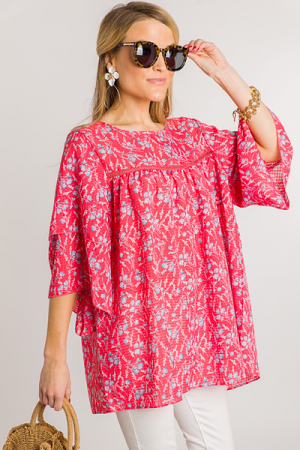 Picking Daisies Top, Coral