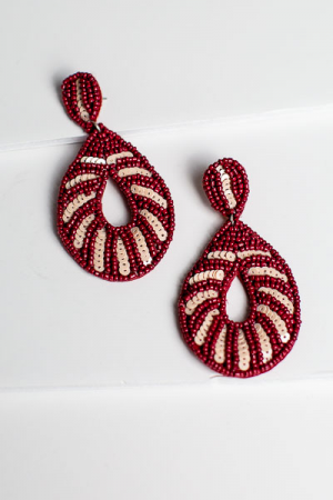 Beaded Burgundy Drop Ear
