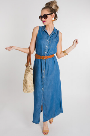 Sleeveless Denim Maxi