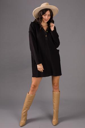 French Terry Pocket Dress, Black