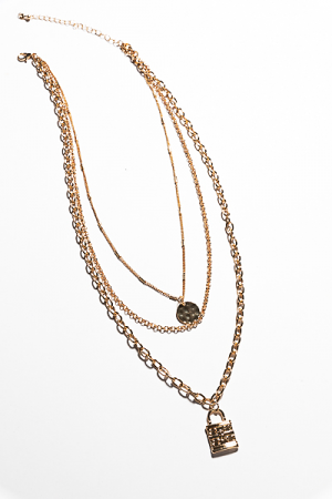 Lock and Disc Layer Necklace
