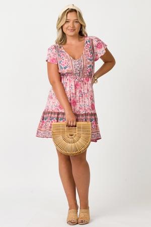 Boho Floral Mini Dress, Pink
