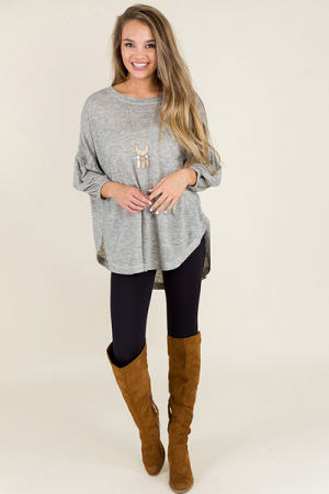 Bubble Sleeve Tunic, H Grey
