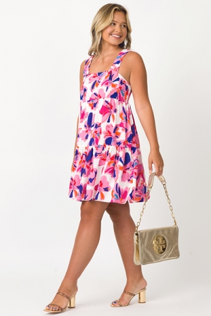 Beverly Floral Dress, Pink