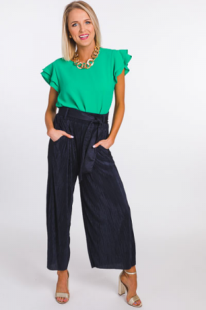 Pleated Wide Leg Pant, Navy