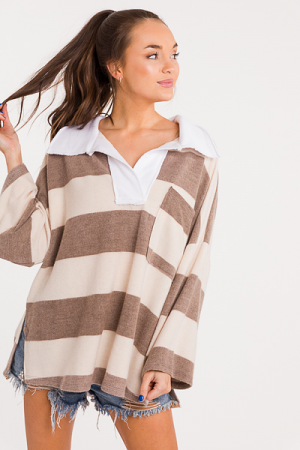 Casual Collar Stripe Tunic, Taupe