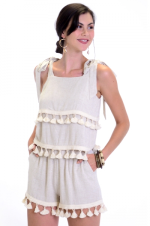 Linen Tassel Short Set