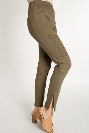 Pull On Moto Jeggings, Olive