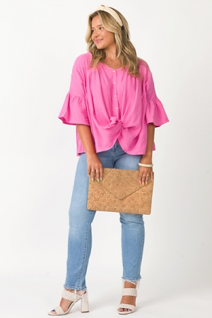 Button Babydoll Gauze Top, Pink