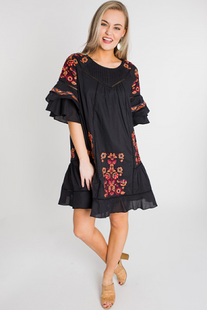 Dark Blooms Embroidery Dress