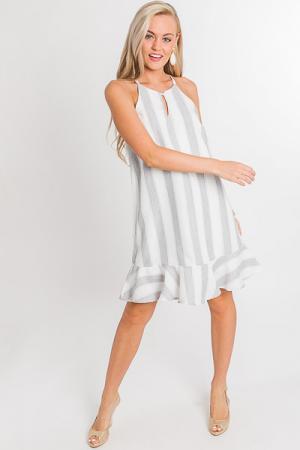 Zoe Flounce Dress, Grey