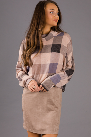 Plaid Crop Pullover, Taupe
