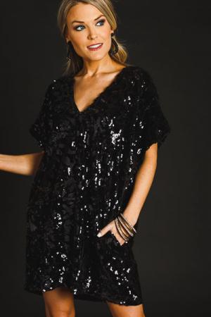 Velvet Sequins Dress, Black
