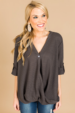 Henley Twist Top, Charcoal