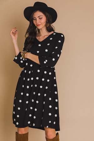 Make a Wish Dot Midi, Black