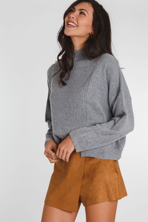 Front & Center Slit Sweater, Grey