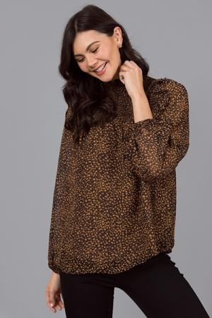 Dark Side Leopard Blouse, Black