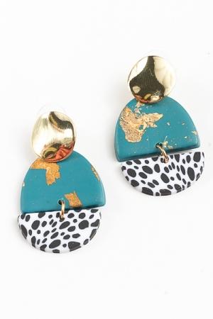 Gold Foil & Dot Print Earrings, Teal