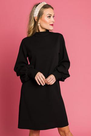 Mock Neck Solid Dress, Black