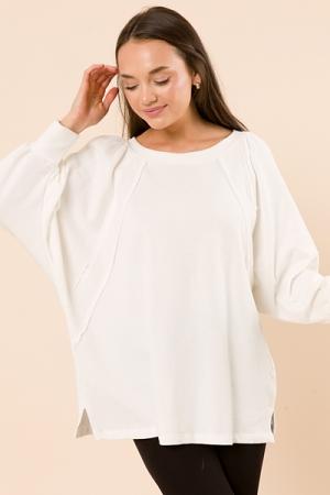 Contrast Sweatshirt Tunic, White
