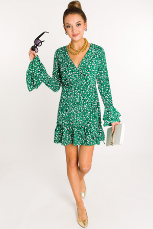 Oo La Leopard Wrap Dress, Green