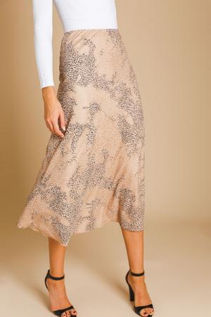Metallic Cheetah Midi Skirt