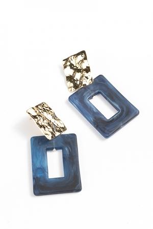 Acrylic Rectangle Earrings, Navy