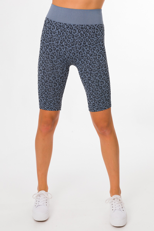 Leopard Biker Shorts, Blue