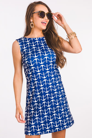 Anchors Away Dress, Navy