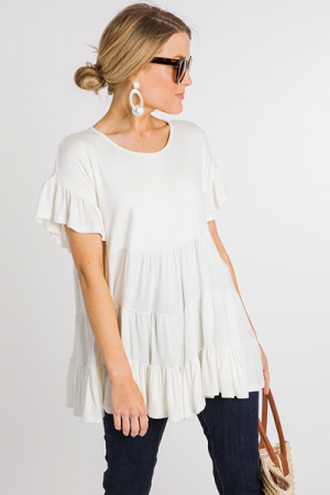 Tiered Tunic Tee, White