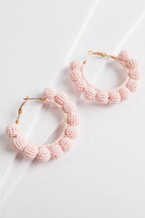 Beaded Hoop Earrings, Blush