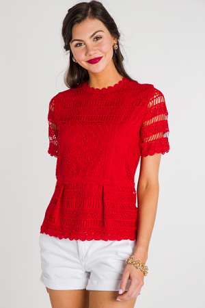 Crocheted Peplum, Red