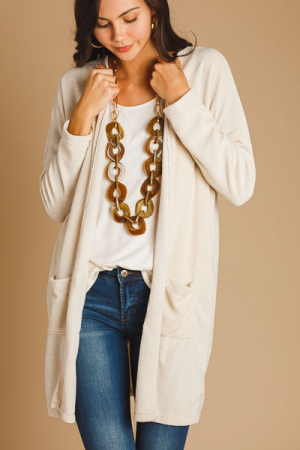 Open Book Solid Cardi, Cream
