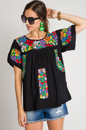 Natalie Embroidery Top, Black