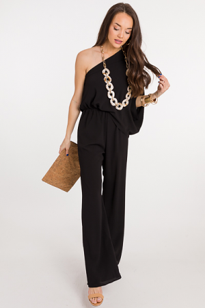 Alyssa 1 Shoulder Jumpsuit, Black