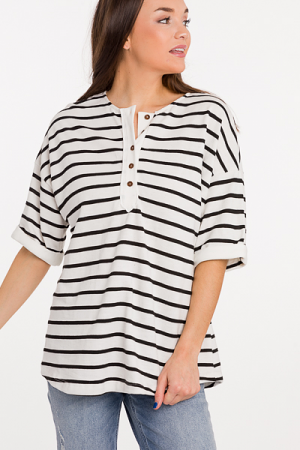 Striped Henley Sweatshirt