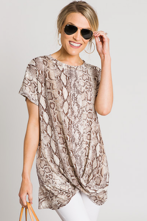 Twisted Snake Tunic, Taupe