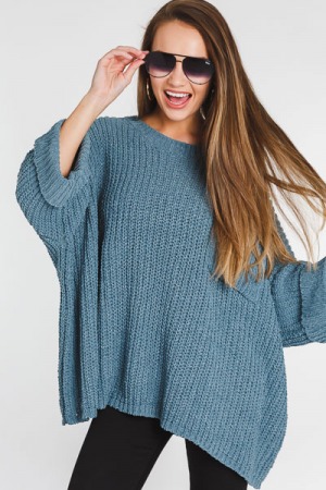 Oversized Chenille Sweater, Slate