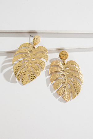 Plated Palm Earring, Gold
