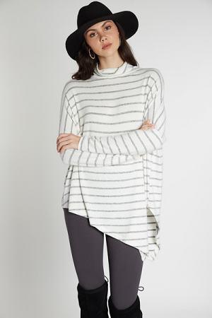 Asymmetrical Cowl Tunic, Stripe