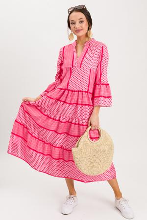 Alicia Mix Print Maxi, Red Pink