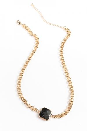 Square Stone Chain Necklace, Black