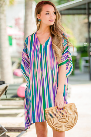 Neon Stripes Kimono Dress