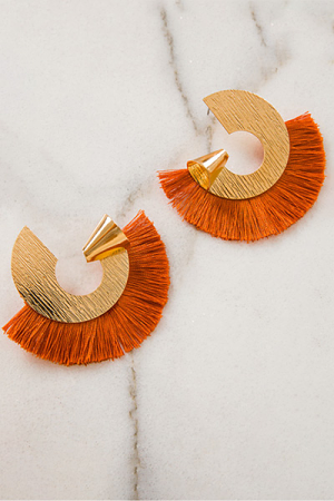 Mega Fringe Earrings, Orange