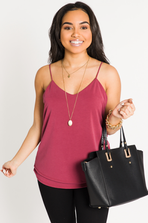 Double Layer Knit Cami, Wine