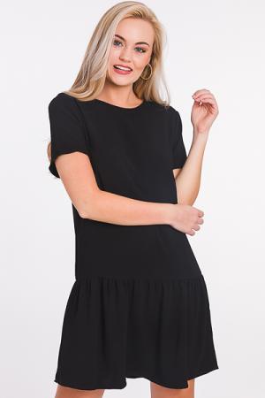 Scoop Back Solid Dress, Black