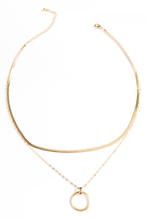 Snake Chain and Circle Necklace