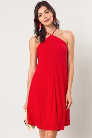 Textured Stripe Halter Dress, Red